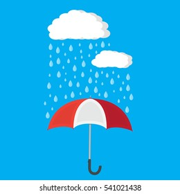 Umbrella and rain with clouds. vector illustration in flat style.