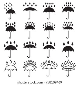 Umbrella and rain drops icons. Collection of 16 black pictograms isolated on a white background. Vector illustration