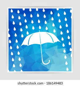 umbrella and rain drops on the Abstract Blue Triangular Polygonal background