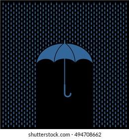 Umbrella with rain at night. Rain water drops and umbrella protect concept.