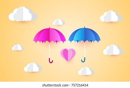 Origami Made Colorful Umbrella Air Rainingpaper ...