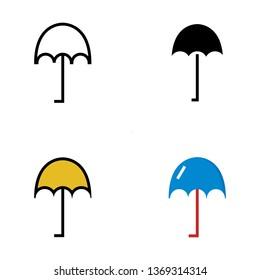 Umbrella, Rain Protector Flat Style Icon Vector - Vector