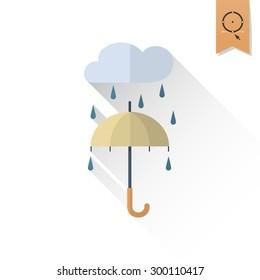 Umbrella and Rain. Single Flat Autumn Icon . Simple and Minimalistic Style. Vector