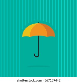 Umbrella rain vector illustration, heavy raining with abstract water lines background, autumn season, concept of insurance symbol, protection, waterproof label modern flat design isolated on green