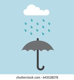 umbrella rain weather forecast cloud vector illustration. weather icon umbrella flat logo forecast rainy vector isolated clouds rainfall raining cats and dogs grey parasol banner icon