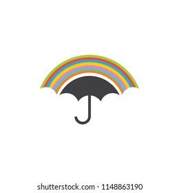 umbrella and rainbow symbol logo vector
