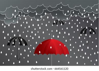 umbrella red rain  ideas design vector illustration on background