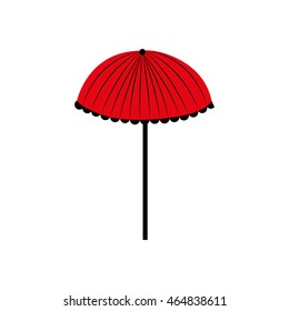 umbrella red weather rain icon. Isolated and flat illustration. Vector graphic