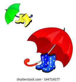 Umbrella and Rubber Boots.Vector Illustration
