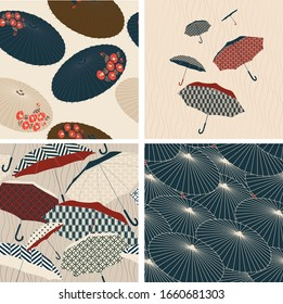 Umbrella seamless background with Japanese pattern vector. Floral and geometric elements. Rainy season wallpaper in vintage style.