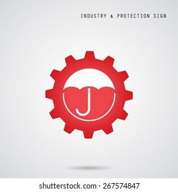 Umbrella sign and gear icon. Industry, protection and security concept. Vector illustration