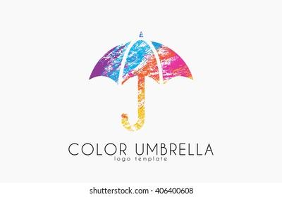 Umbrella sign icon. Rain protection symbol. Color umbrella logo