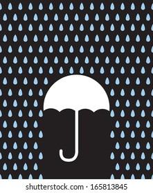 Umbrella silhouette in rain downpour
