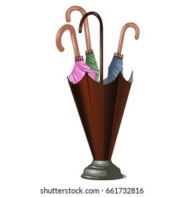 Umbrella stand with colorful umbrellas isolated on white background. Vector cartoon close-up illustration.