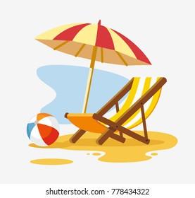 Sonnenschirm und Liegestühle am Strand. Vektorgrafik