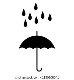 umbrella symbol concept protect rain - vector  illustration - rainy weather