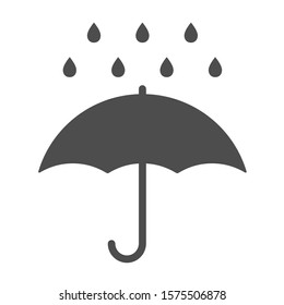 Umbrella vector icon isolated on white background. Umbrella and rain drops stock vector illustration for web, mobile app and ui design