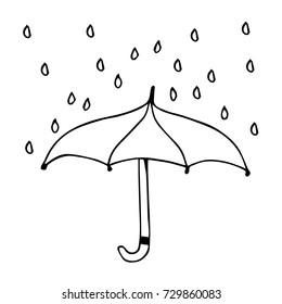 Umbrella vector illustration. Doodle style. Design icon, print, logo, symbol, decor, textile, paper.