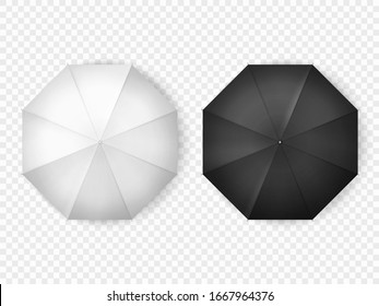 Umbrella vector mockup blank templates, top view. Black and white open umbrellas, realistic 3D models isolated on transparent background, rain and sun protection accessory