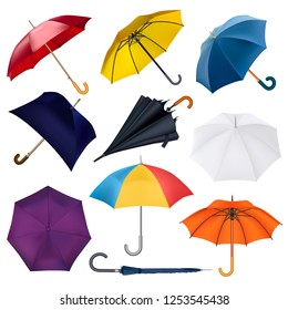 Umbrella vector umbrella-shaped rainy protection open and colorfull parasol accessory illustration set of autumn rained protective cover umbrella-stand isolated on white background