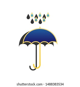 Umbrella with water drops. Blue icon with gold contour with dark gray shadow at white background. Illustration.