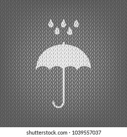 Umbrella with water drops. Rain protection symbol. Flat design style. Vector. White knitted icon on gray knitted background. Isolated.