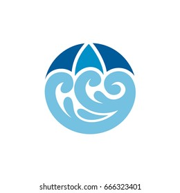 Umbrella And Wave Logo Template