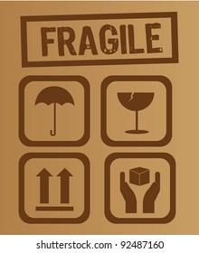 umbrella,glass, arrow and hands box signs vector illustration