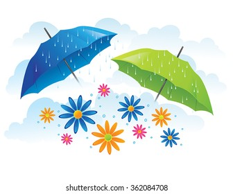 Umbrellas with flowers and spring rain
