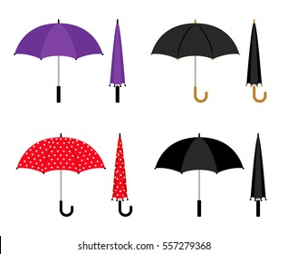 Umbrellas folded and opened collection. Black, red and violet parasol vector icons isolated on white background.