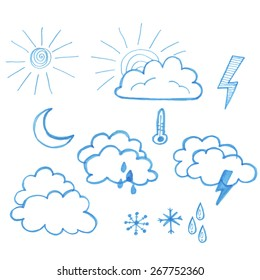 Umbrellas and hand-drawing clouds