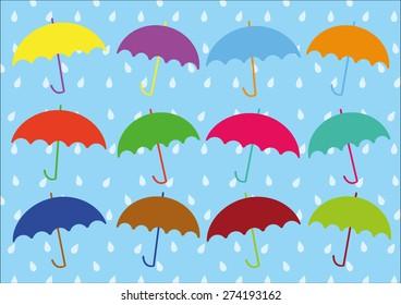 Umbrellas Vector and Rain Pattern