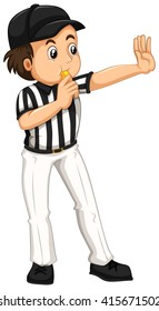 Umpire in striped uniform blowing whistle illustration