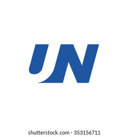 UN negative space letter logo blue