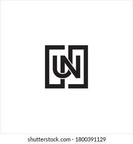 UN or NU letter logo design vector.