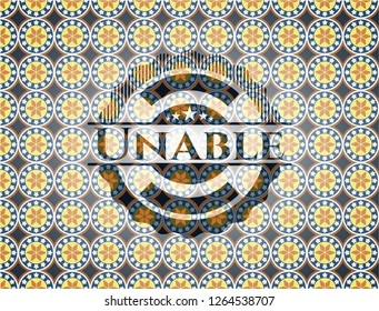 Unable arabic style emblem. Arabesque decoration.