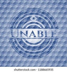 Unable blue emblem with geometric background.