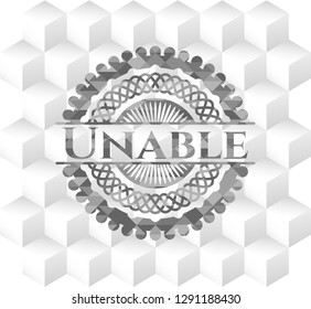 Unable grey emblem. Retro with geometric cube white background