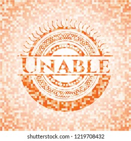 Unable orange tile background illustration. Square geometric mosaic seamless pattern with emblem inside.