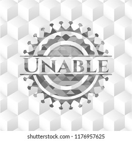 Unable realistic grey emblem with geometric cube white background