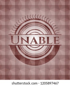 Unable red seamless geometric badge.
