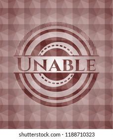 Unable red seamless geometric pattern emblem. Seamless.