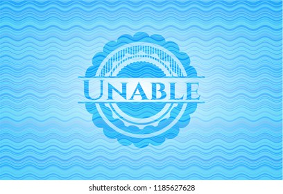 Unable sky blue water style badge.