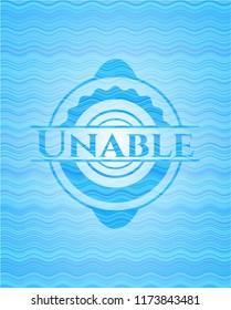 Unable water concept badge.