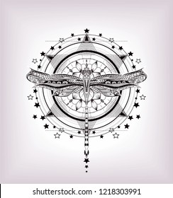 Unalome. Black print on the white background. Sacred geometry with dragonfly.