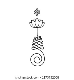 unalome. Buddhist symbol for life path with lotus flower