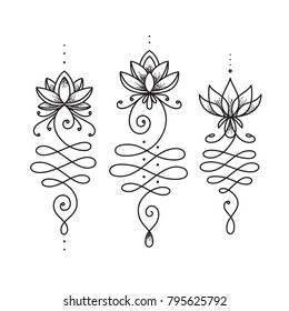 Unalome lotus flower symbol. Buddhism life path sign, spiritual sacred geometry image. Tattoo style ornate lotus flower unalome illustration. Line vector vintage healing tattoo floral decor.