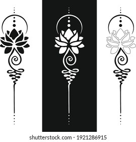 The unalome symbol represents the path to enlightenment in the Buddhist culture. tattoo Designs