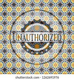 Unauthorized arabesque emblem. arabic decoration.