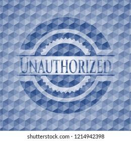 Unauthorized blue hexagon badge.